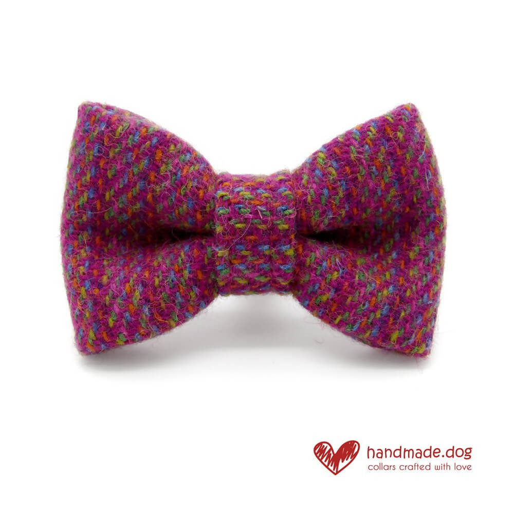 Pink Multicoloured 'Harris Tweed' Dog Bow Tie