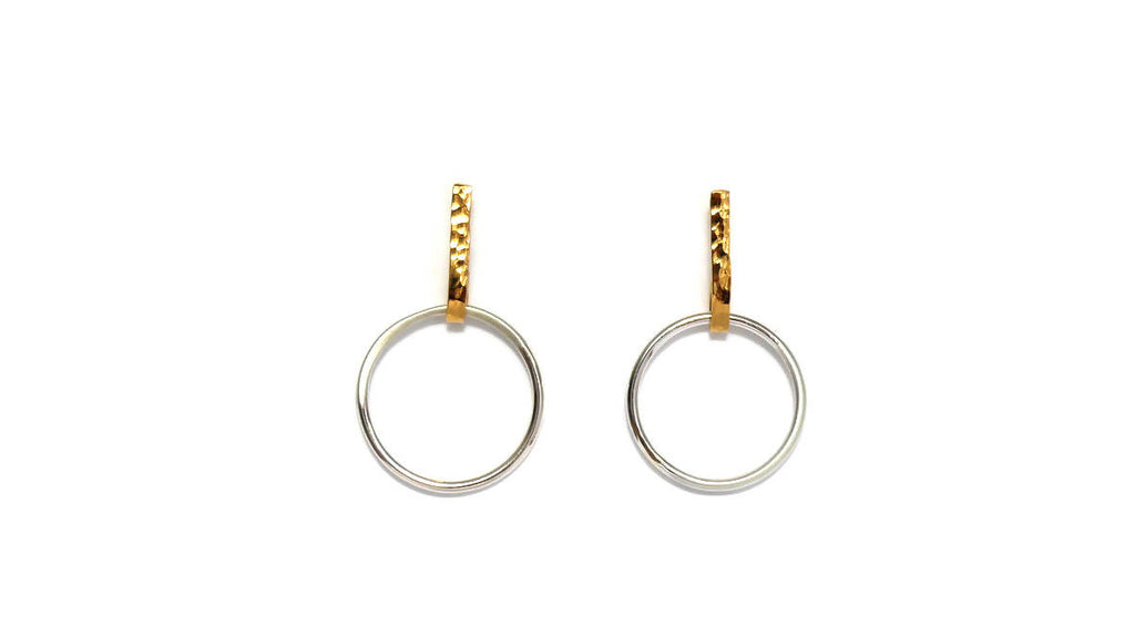 Sunburst Circles Earrings in Gold & Silver, Design Vaults