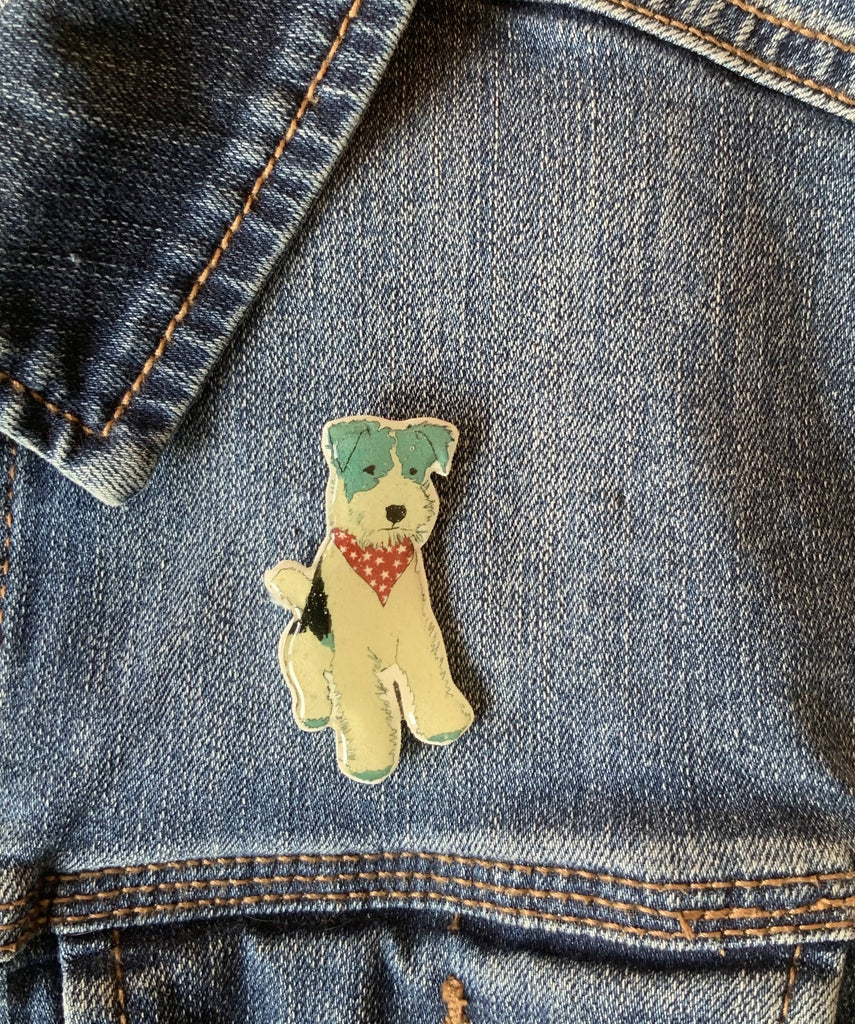Fox Terrier - Pin Badge - Handmade