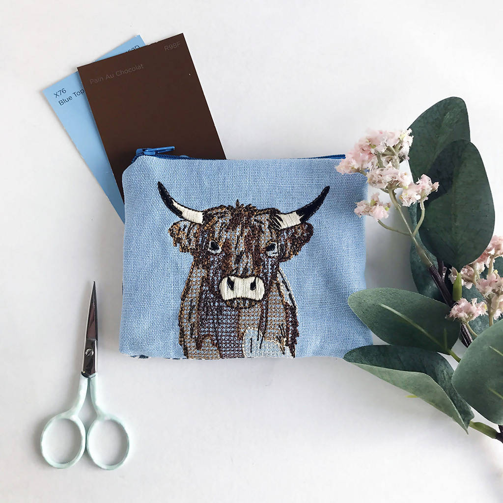 Sky Blue Embroidered Highland Cow Purse