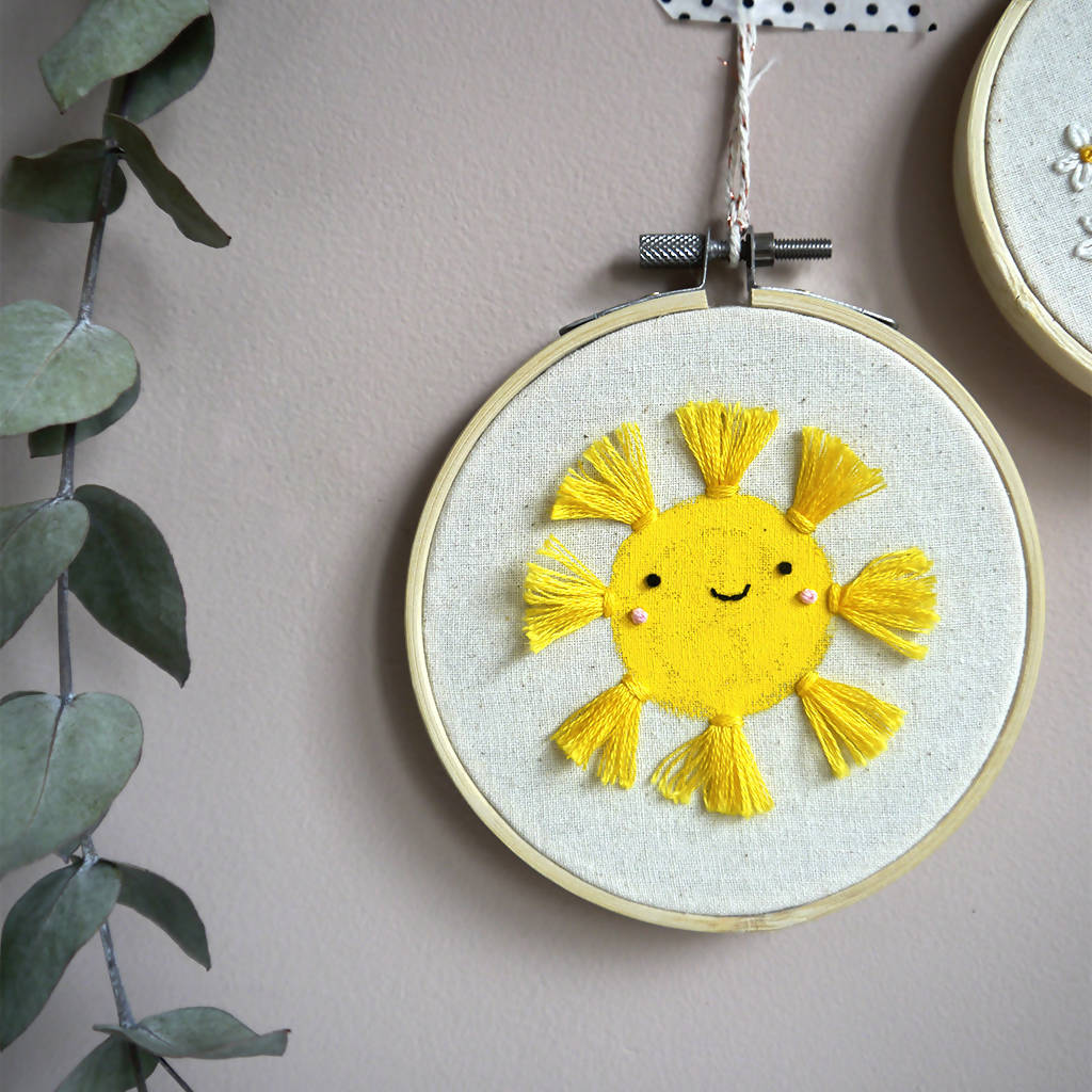 Happy Sunshine Embroidery Decor