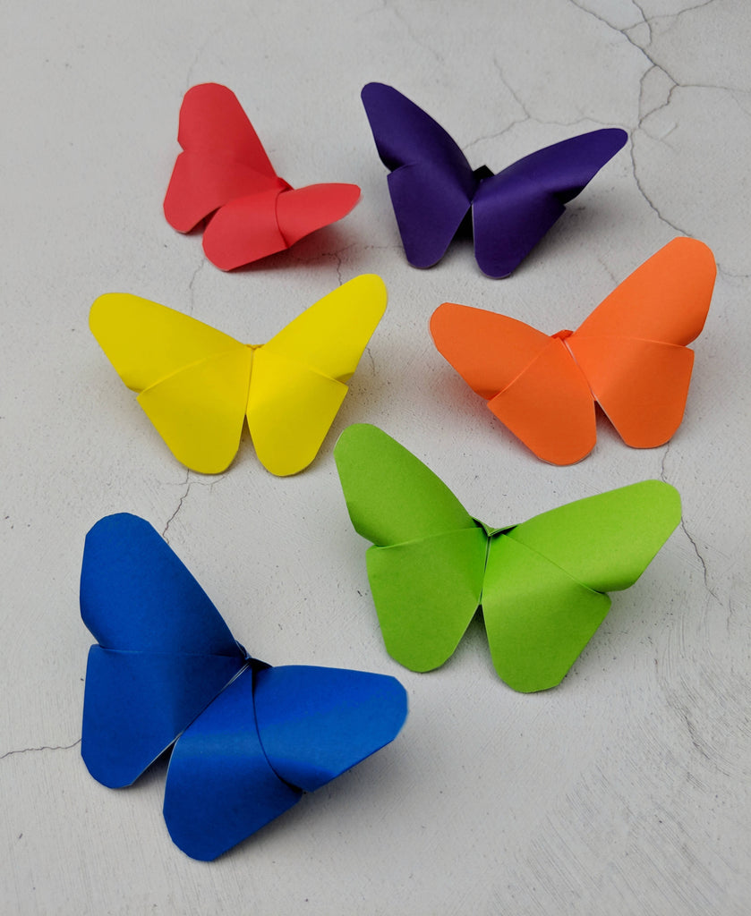 Set of 6 handmade origami butterflies in rainbow colours