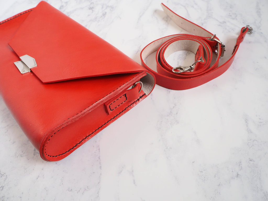 Red 'Chloe' Leather Clutch Bag