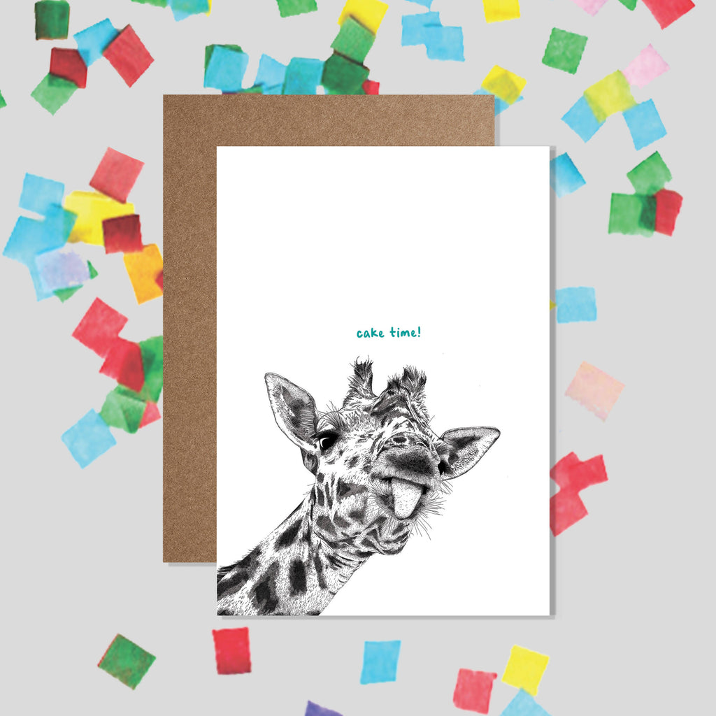 CAKE TIME! Giraffe Birthday Card / Funny Animal Card, Kids Party