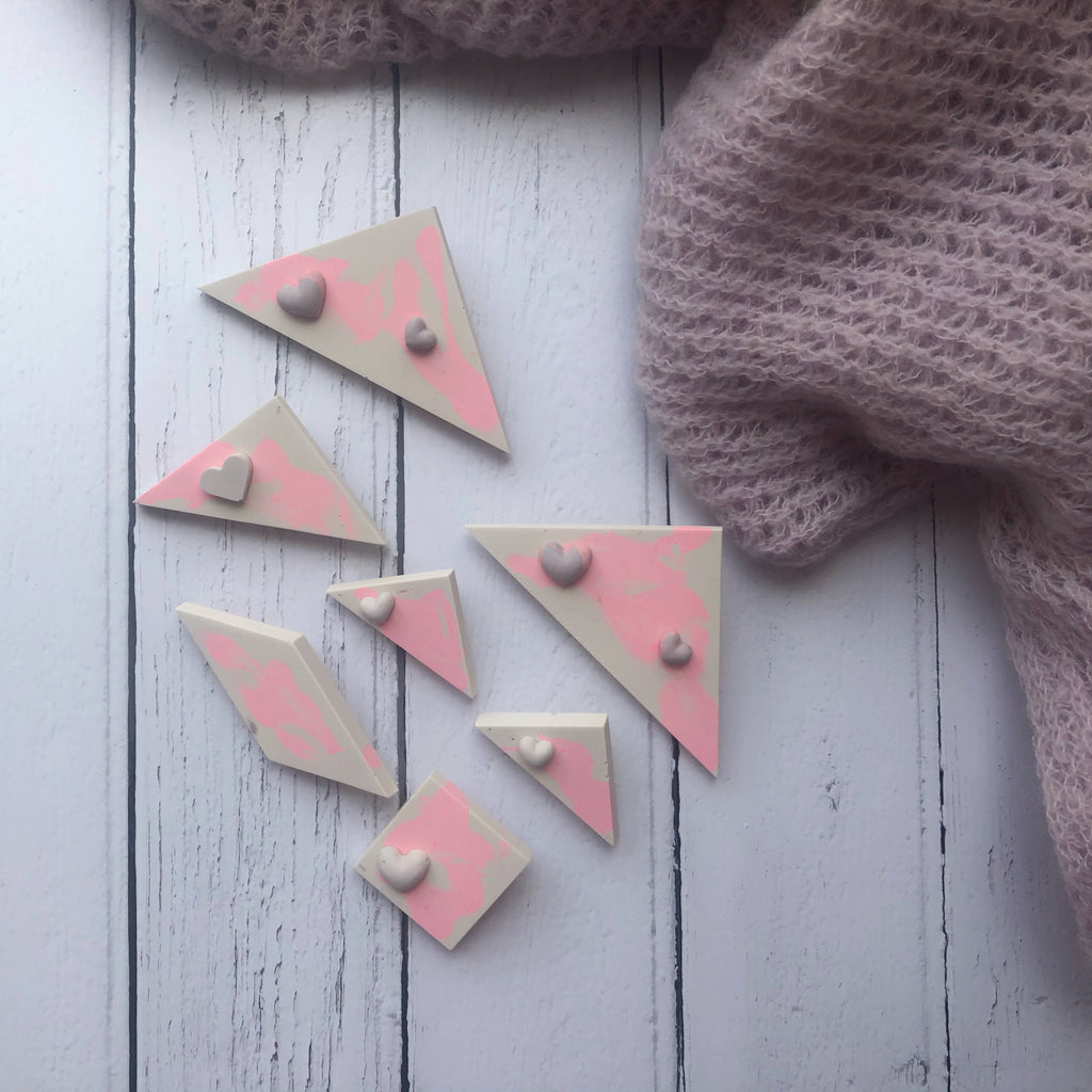 Square stone and pink jesmonite brooch