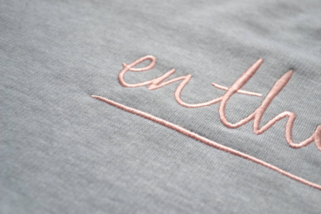 The Enthusiast sweatshirt, pink on grey marl