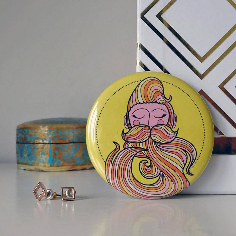 Beard Compact Pocket Mirror