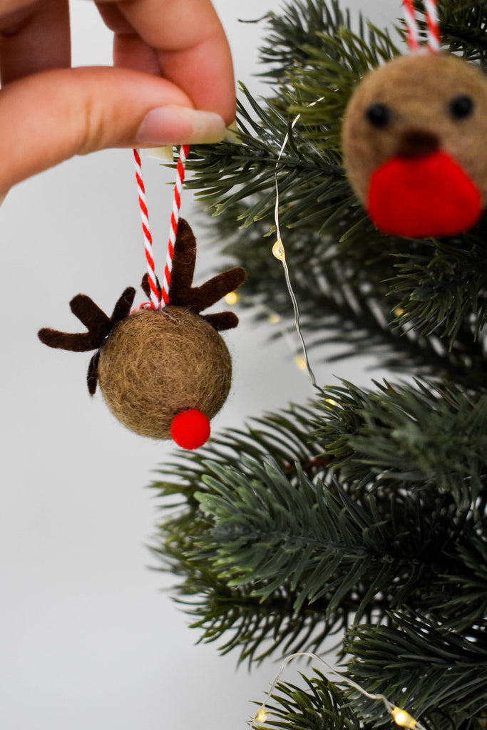 Reindeer and Robin Christmas Pom Pom Tree Decorations