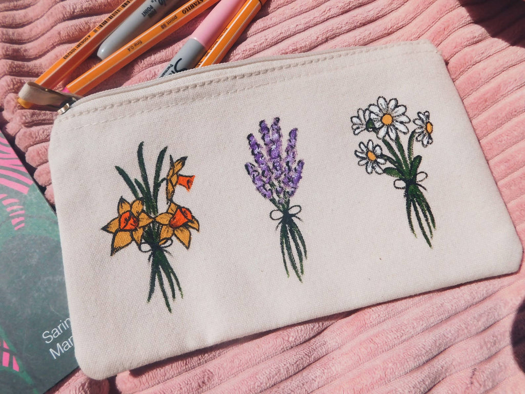 Three Wildflower Bouquets Hand Painted Organic Cotton Accessory Pouch