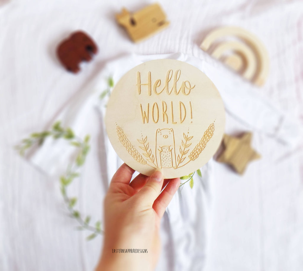 Baby announcement Hello World wooden photo prop sign