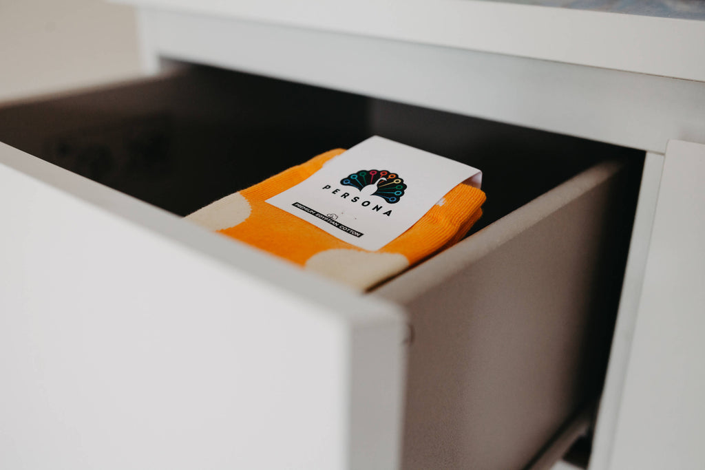 "Our ""Orange You Glad I Blue You Away"" sock box"