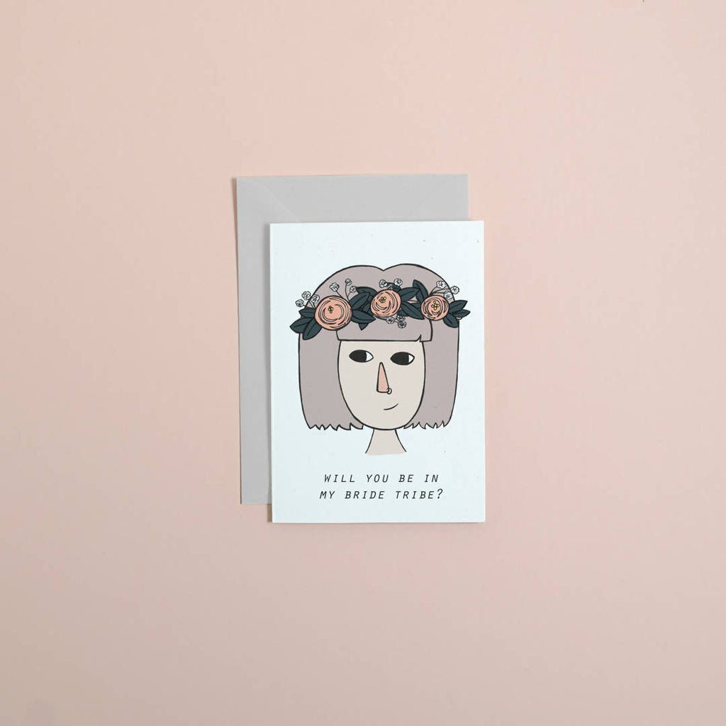 Bride tribe card // bridesmaid card // wedding card // greetings card // illustration // girlboss // maid of honour //