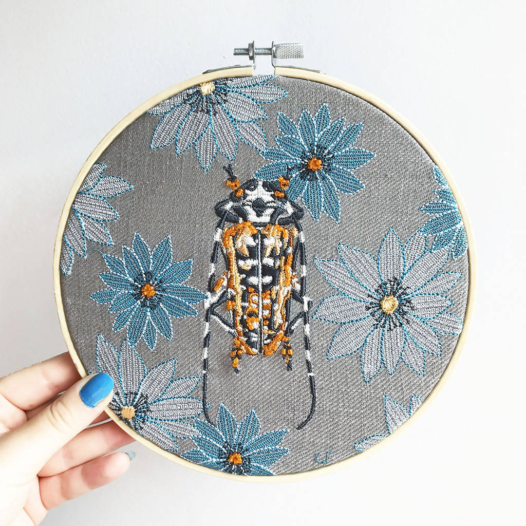 Beetle Embroidery Hoop Art