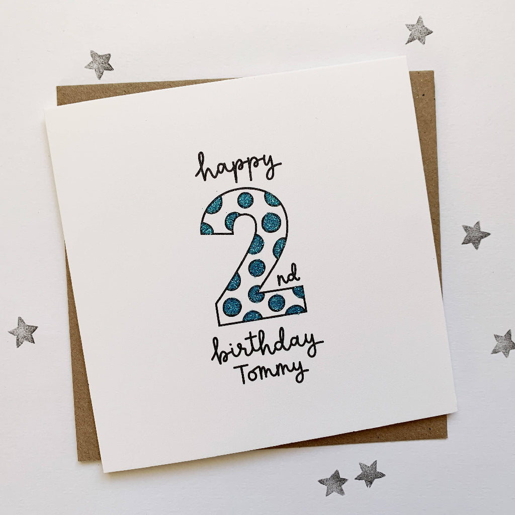 Personalised Age Birthday Card With Glitter Spot Number
