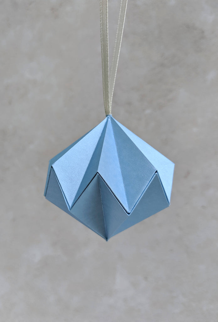 blue paper Christmas bauble