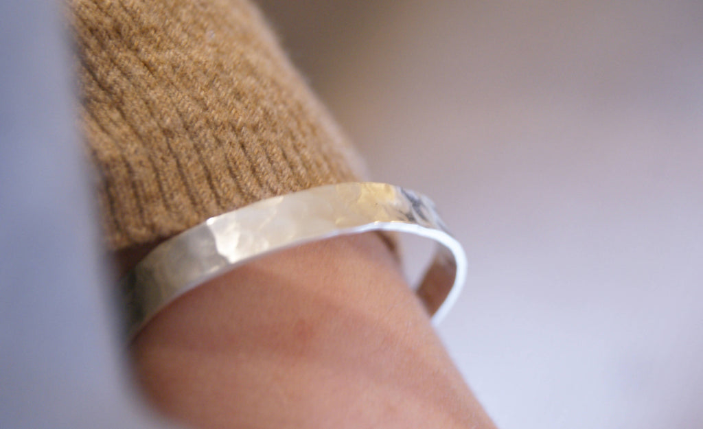 Silver Textured Bangle With Hidden Message, Personalised Bracelet
