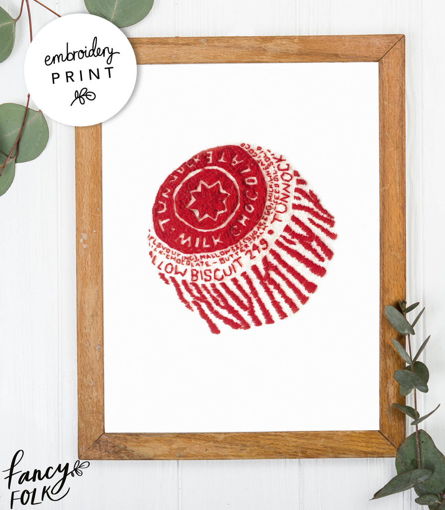 Tunnocks Teacake Embroidery Print