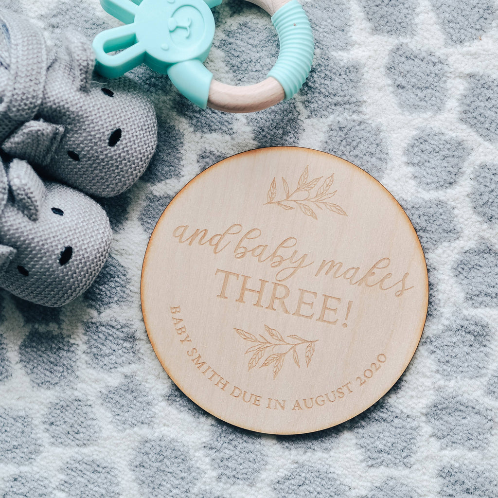 'And Baby Makes Three' Pregnancy Announcement Wooden Keepsake Plaque