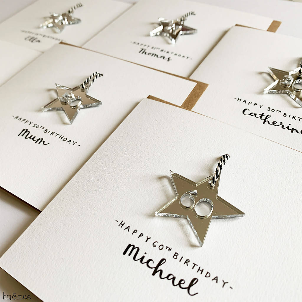Personalised 50th Birthday Card With Silver Mirror Acrylic Hanging Star