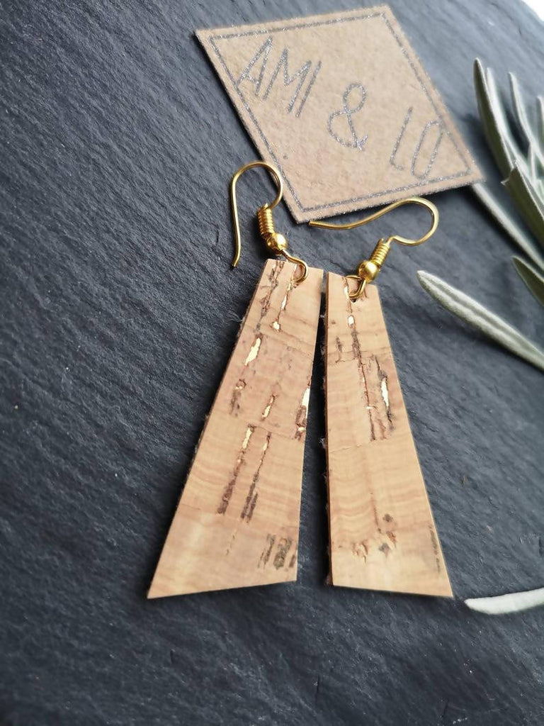 Natural & Gold cork leather bar earrings by Ami and Lo