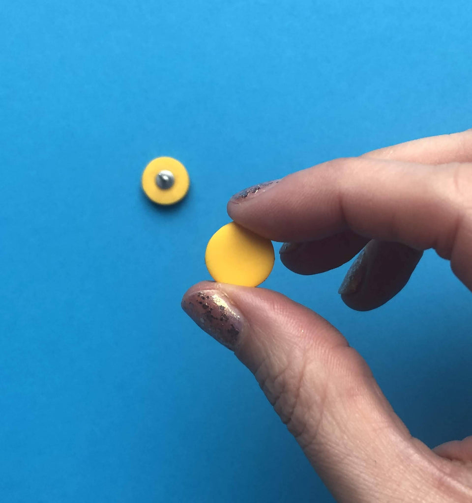 Yellow circle polymer clay earrings