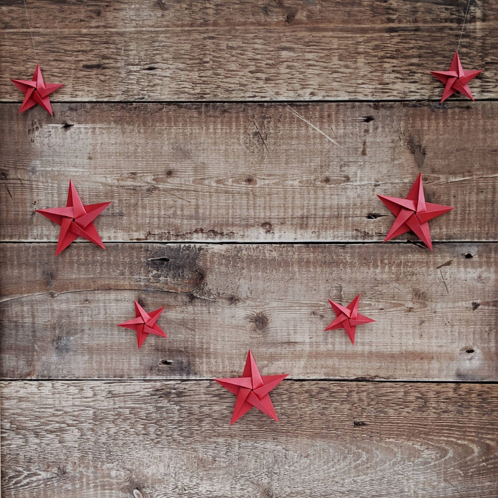 red origami paper star garland