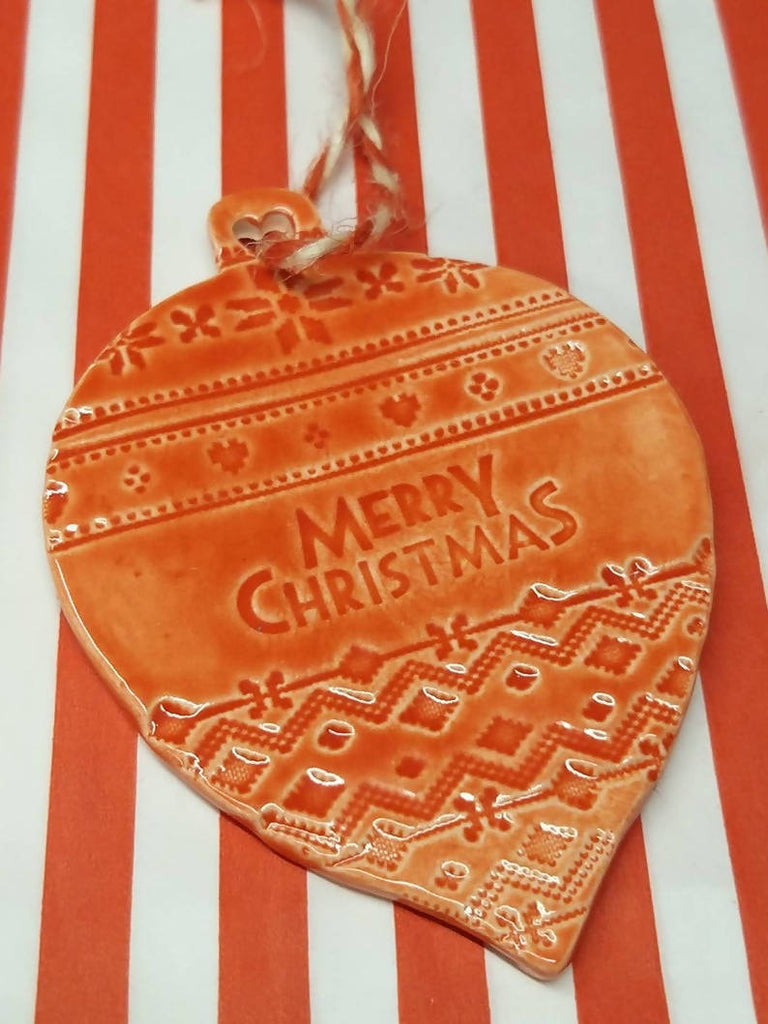 Ceramic Christmas Tree Decoration - Bauble