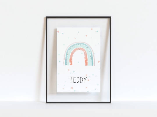 Watercolour rainbow personalised nursery artwork | rainbow nursery art | personalised nursery art | name and rainbow print | A3 A4 A5 A6