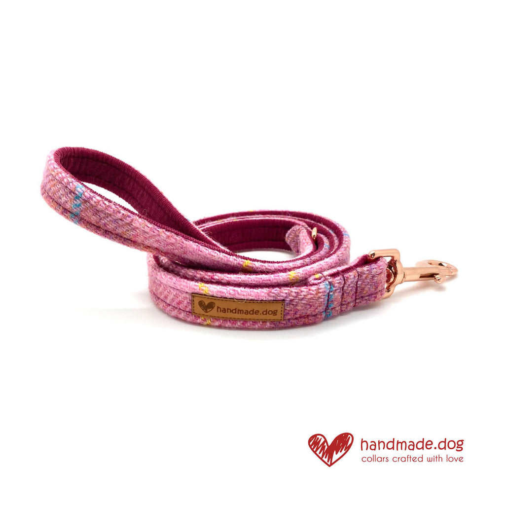 Raspberry Check 'Harris Tweed' Dog Lead