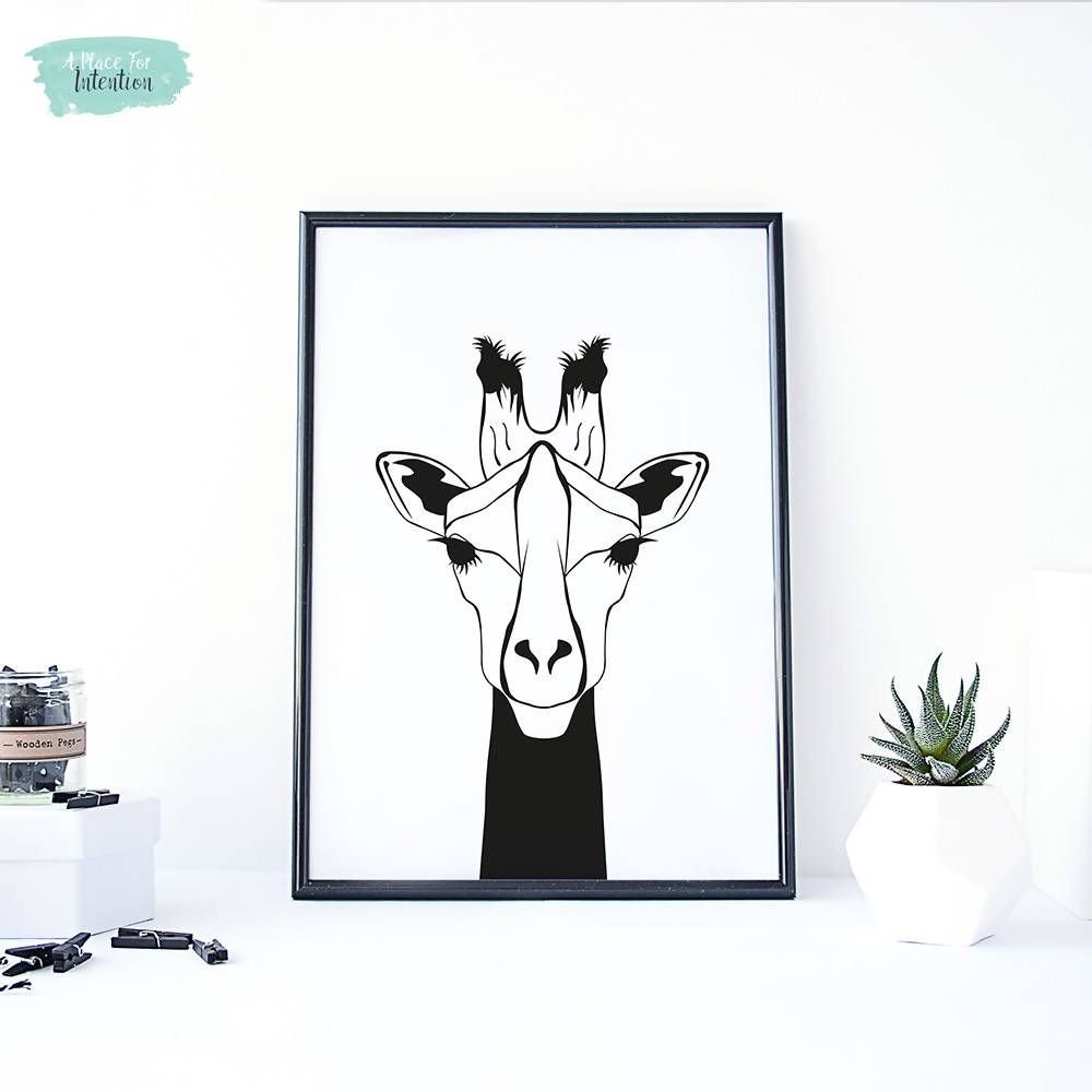 Black and White Giraffe Illustration Art Print