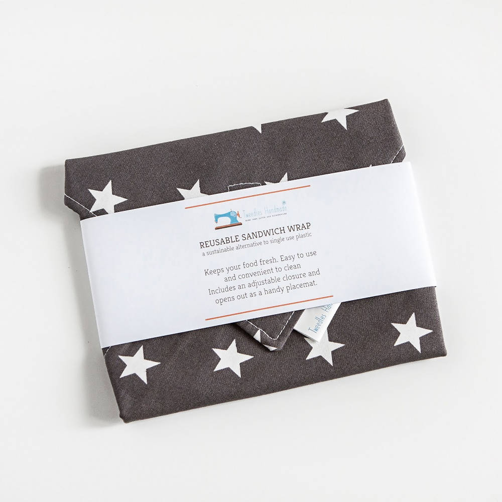 Eco Friendly Reusable Sandwich wrap with grey stars