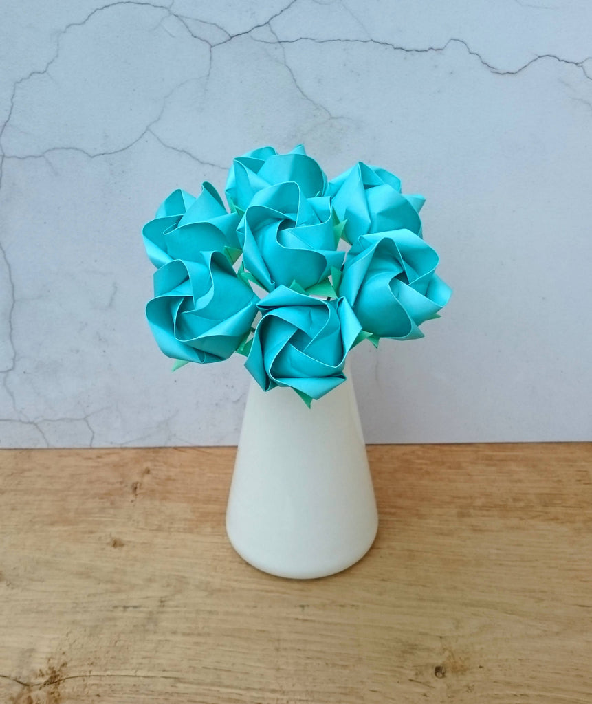 Turquoise origami paper roses bouquet