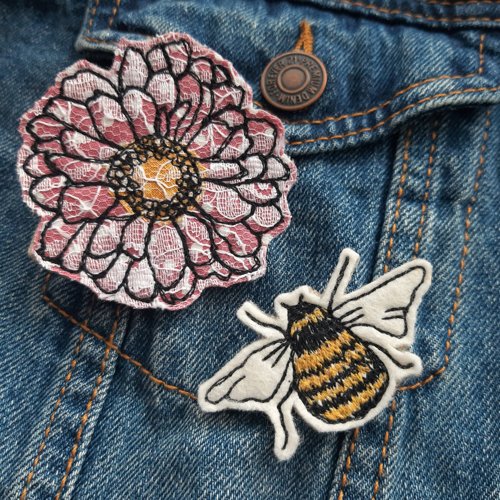 Bee Brooch & Flower Brooch, Free Motion Embroidery Applique Brooch