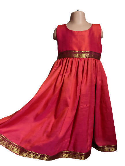 Red Silk Shimmer Party Dress 7-8y