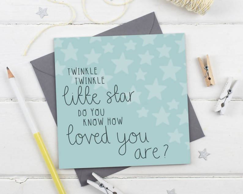 Twinkle Twinkle Little Star - New Baby Unisex Expectant Parents Greeting Card