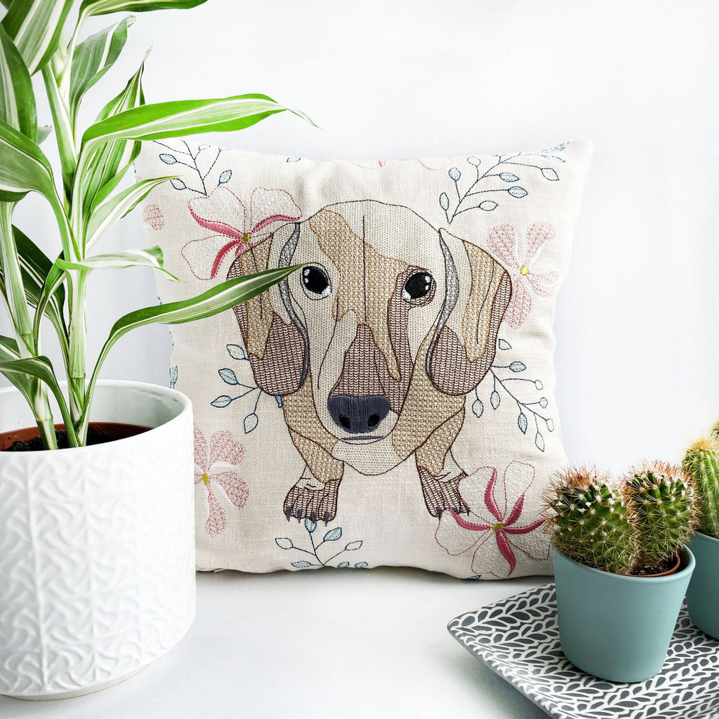 Dachshund Embroidered Cushion - Limited Edition
