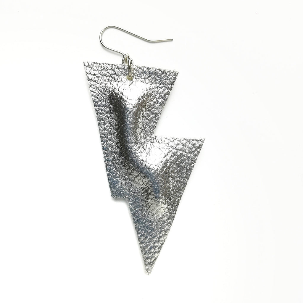 Disco Bolt Lightning Bolt Earrings - Metallic Leatherette Collection