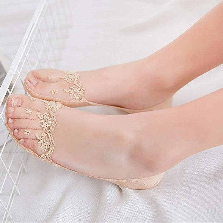 (Buy 4 Pairs Free Shipping) Women's Lace Boat Liner Socks