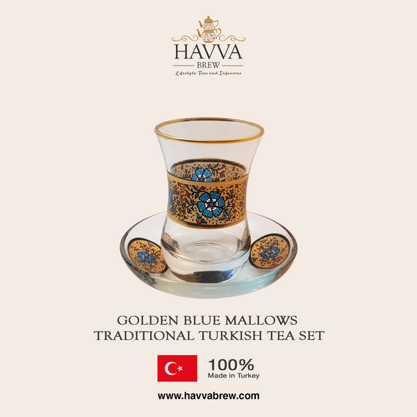 Golden Blue Mallows Traditional Turkish Tea Set