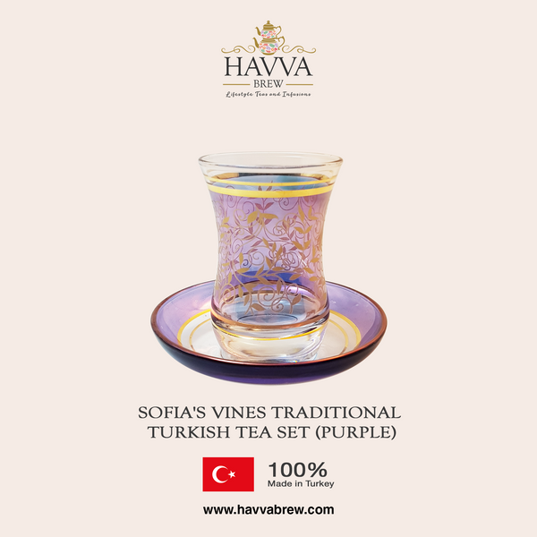 Sofia's Vines Traditional Turkish Tea Set (purple)