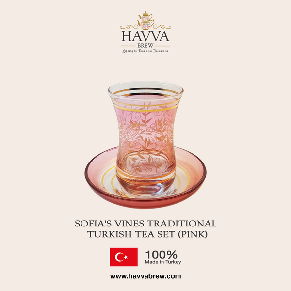 Sofia's Vines Traditional Turkish Tea Set (pink)