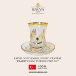 Zafer Gold-Embellished Crystal Traditional Turkish Tea Set
