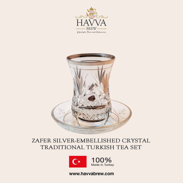 Zafer Silver-Embellished Crystal Traditional Turkish Tea Set