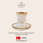 Traditional Gold-Embellished Turkish Tea Set (Promo: Get 10% off on 1kg Premium Turkish Black Tea!)