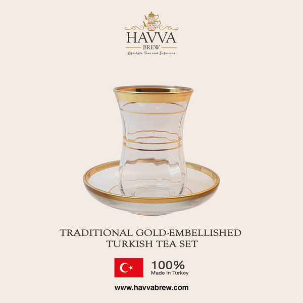 Traditional Gold-Embellished Turkish Tea Set