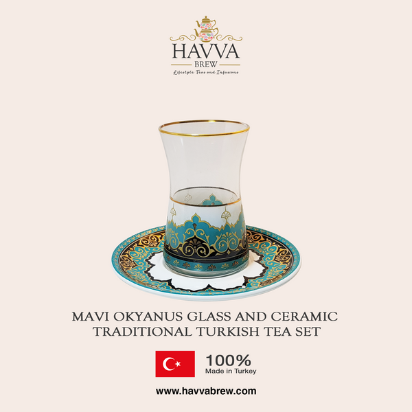 Mavi Okyanus Glass and Ceramic Traditional Turkish Tea Set