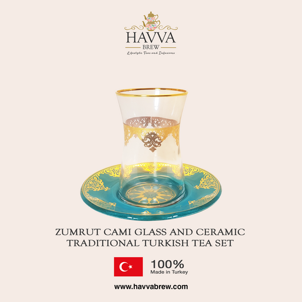 Zumrut Cami Glass and Ceramic Traditional Turkish Tea Set