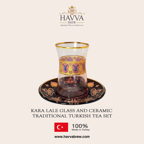 Kara Lale Glass and Ceramic Traditional Turkish Tea Set