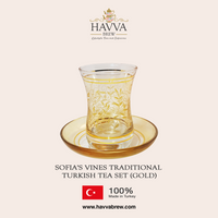 Sofia's Vines Traditional Turkish Tea Set (gold)