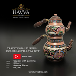 Traditional Turkish Double-Kettle Tea Pot, handcrafted and handpainted, colored